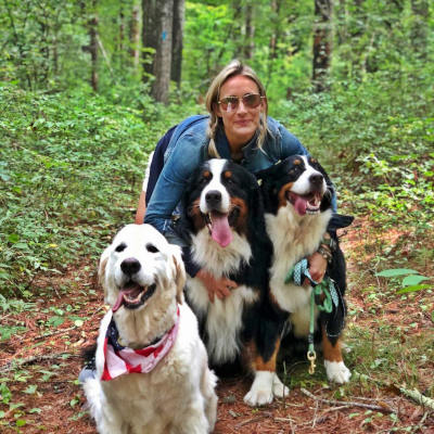 Nikki with dogs in hte woods