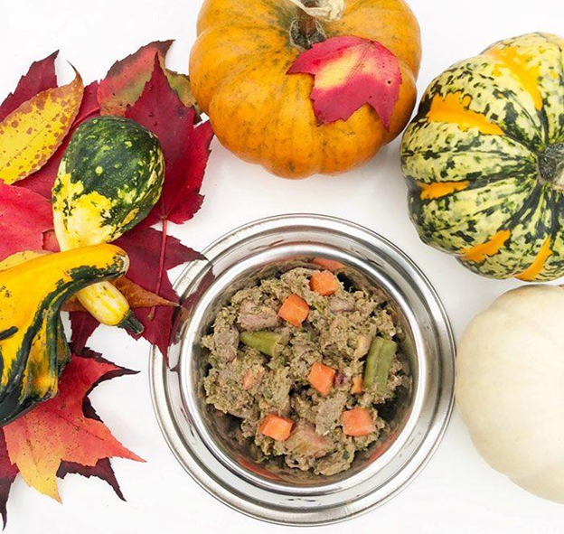 food bowl, halloween gourds , and autumn leaves